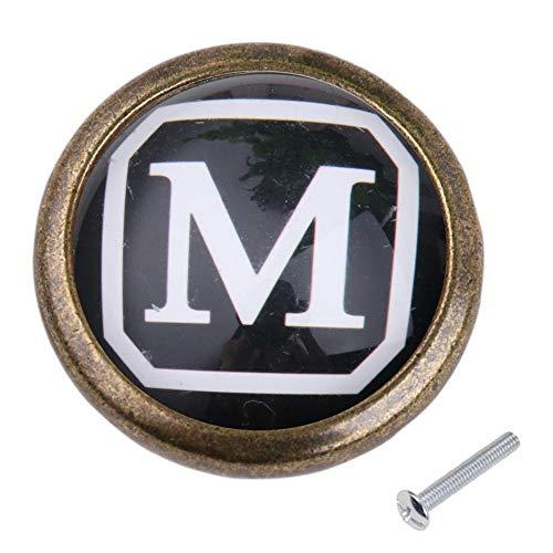 Round Cabinet Door Drawer Bin Dresser Handle Pull Knob DIY Hardware Letter M