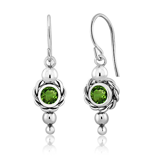 1.00 Ct Round Green Chrome Diopside 925 Sterling Silver Women's Earrings (Round Diopside)