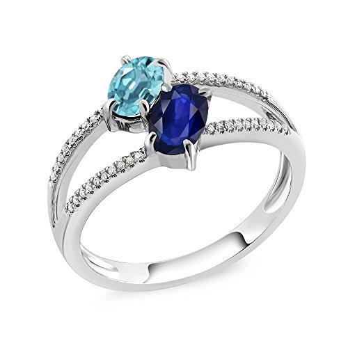1.48 Ct Blue Zircon Blue Sapphire Diamond 10K White Gold Ring
