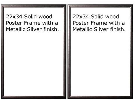 Amazon.com - Two(2) Wood Metallic Silver Finish Poster Frame 22x34 ...