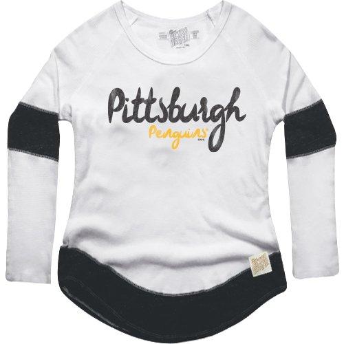 Original Retro Brand NHL Pittsburgh Penguins Women's Boyfriend Thermal Top, Large, White/Black