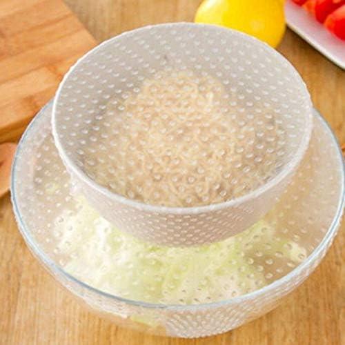Tivollyff ストレッチと新鮮な4ピースシリコーン食品ラップシール環境クリーンと洗浄シリコーン多機能ボウルふた