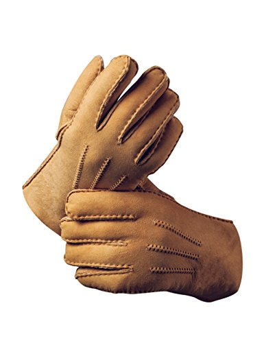 YISEVEN Men's Merino Rugged Sheepskin Shearling Leather Gloves Mittens Sherpa Fur Long Cuff Thick Wool Lined and Heated Warm for Winter Cold Weather Dress Driving Work Xmas Gifts, Camel ()