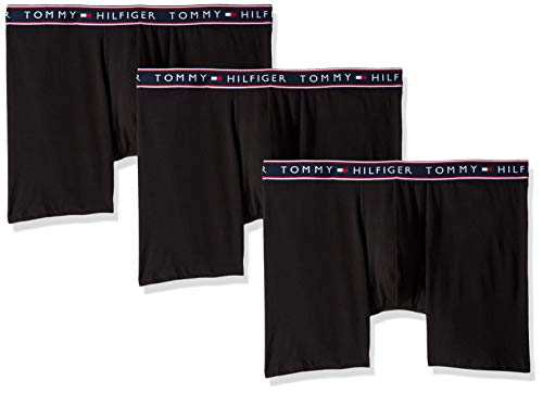 Tommy Hilfiger Men's Underwear Cotton Stretch Boxer Briefs, Black, Medium