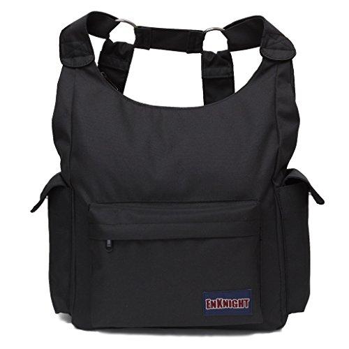 Unique Stylish High-capacity Zipper Canvas Casual Laptop Bag Shoulder Bag Travel Bag (Khaki) - 5