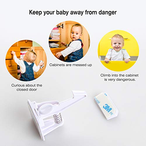 Cabinet Locks Child Safety 12 Pack - Baby Proof Drawer Latches Locks 3M Invisible Design NO Tools Needed by Bricraft (Image #2)