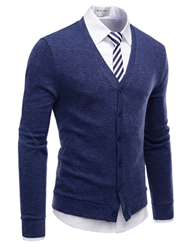 NEARKIN (NKNKCAC1) Mens Knitwear City Casual Slim Cut Long Sleeve Cardigan Sweaters BLUE US M(Tag size M) (New Wool Cardigan)