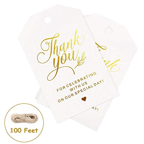 Moretoes 100pcs Gold Thank You Tags, Gift Tags with Free 100 Feet Natural Jute Twine, Perfect for Wedding, Baby Shower and Birthday Favors
