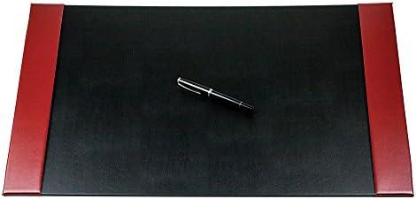 DELMON VARONE - Personalisierbare Schreibtischunterlage mit 2 Seitenleisten Cambridge Top Grain Leder rot, Rutschfeste Schreibunterlage abwaschbar, Schreibtisch Unterlage als Mousepad, 64x42 cm