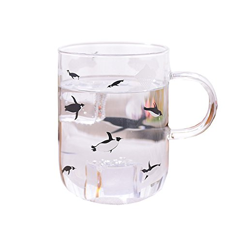 Glass Mug with Handle Clear Cute Coffee Cups with Penguin Printed Mugs for Drinking Tea, Latte, Espresso, Juice, Beer,Wine Water, By Mr.Mug & Ms.Cup (500ml/17oz) - 500 Wine Cabinet