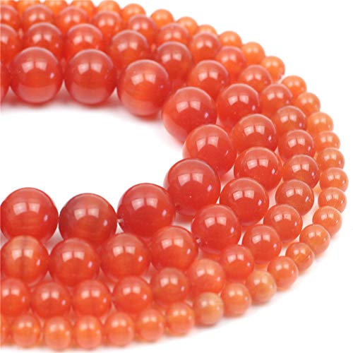 """Oameusa Natural Round Smooth 12mm Orange Red Cat's Eye Agate Beads Gemstone Loose Beads Agate Beads for Jewelry Making 15"""" 1 Strand per Bag-Wholesale"""
