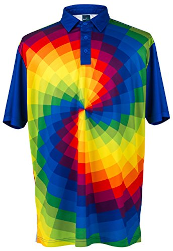 (ReadyGOLF Mens Golf Polo Shirt - Tie Dye Large)