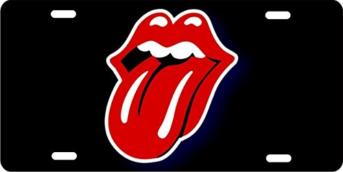 ATD Red Rolling Stones Tongue on Black Background Novelty Front License Plate Decorative Vanity car tag can Also be Used as a Door Sign