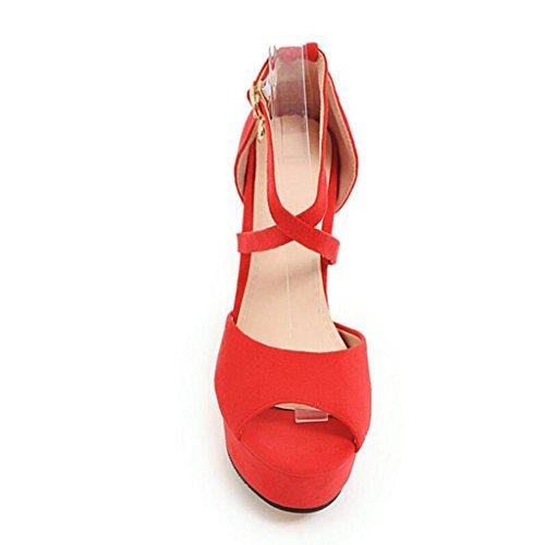 Poisson Bouche Talons De Mince Été De De Nude Hauts Femelle Femme Sandales Givré Chaussures Rouge Chaussures Croisées Sangles Talons Couleur xqnzRFSw0