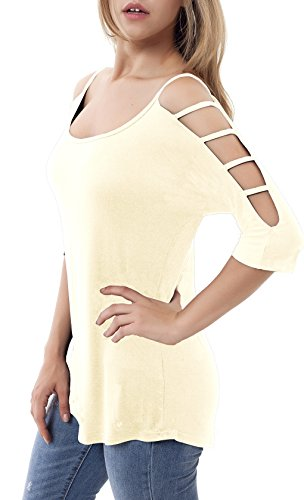 Women's Casual Loose Hollowed Out Shoulder Three Quarter Sleeve Shirts Beige M