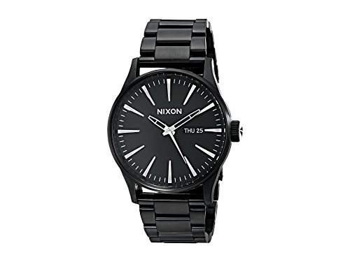 Date Watch Black - Nixon Sentry SS A356001-00. All Black Men's Watch (42mm Black Watch Case. 23-20mm Black Stainless Steel Band)
