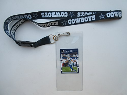 DALLAS COWBOYS BLUE LANYARD WITH TICKET HOLDER PLUS COLLECTIBLE PLAYER CARD