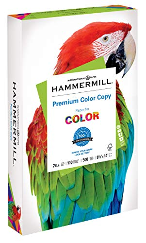 Hammermill Paper, Premium Color Copy Paper 8.5 x 14 Paper, Legal Size, 28lb Paper, 100 Bright, 1 Ream / 500 Sheets (102475R) Acid Free Paper ()