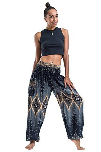 Harem Pants Unisex Diamond Peacock Harem Pants for Men & Women in Black
