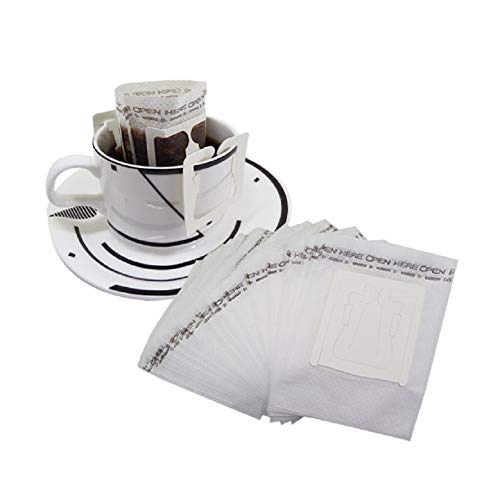 Huayoung Pack of 100 Single Cup Paper Coffee Filters Hanging Ear Coffee Bags Travel Drip Coffee ()