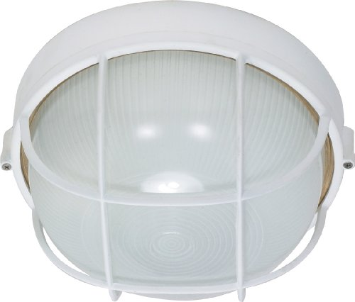 Nuvo Lighting 60/562 Bulkhead 1-Light Round Cage Energy Star CFL, Semi Gloss White