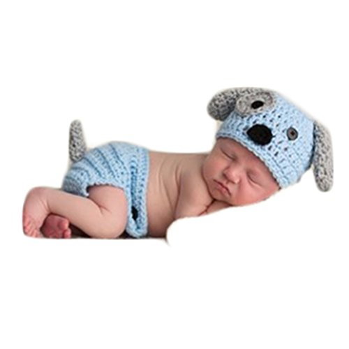 (Newborn Baby Boy Photography Photo Props Outfits Crochet Knit Cute Doggy Hat Pants Photo Shoot Accessories(Style Two))