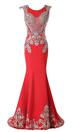 Rongstore Women's Crystal Evening Dresses Floor Length Appliques Prom Gown Watermelon Red US12