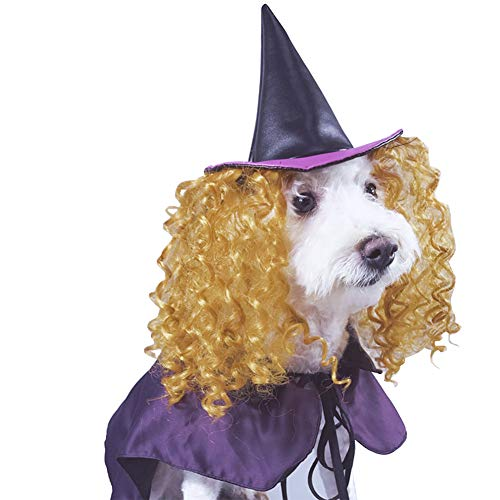 Delifur Dog Wizard Cloak with Hat Halloween Costume for Dogs Cats