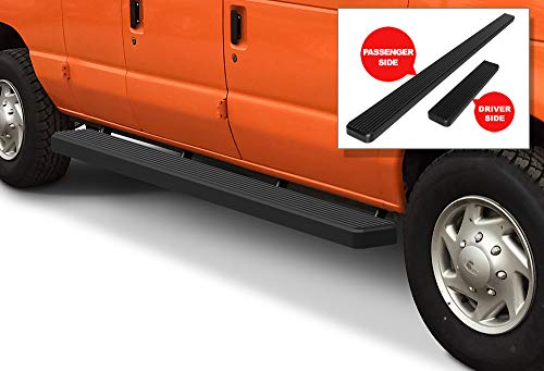 APS iBoard (Black Powder Coated 6 inches) Running Boards | Nerf Bars | Side Steps | Step Rails for 1999-2014 Ford Econoline Full Size Van