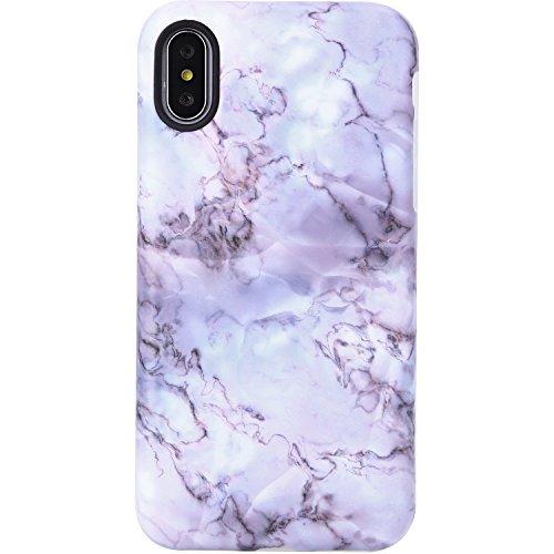 VIVIBIN Case for iPhone X XS,Cute Light Purple Opal Marble for Girls Women Clear Bumper Soft Silicone Rubber Matte TPU Cover Slim Fit Best Protective Thin Phone Case for iPhone X/iPhone Xs[5.8]
