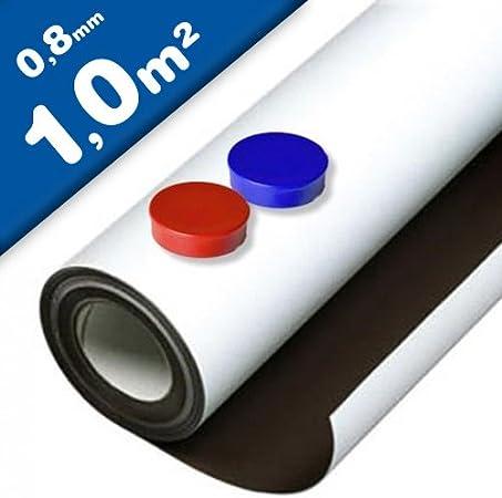 Lámina de hierro blanco mate autoadhesiva 0,8mm x 1m x 1m - Ideal para la creación de tableros y todo tipo de aplicaciones innovadoras en las que se utilizan imanes