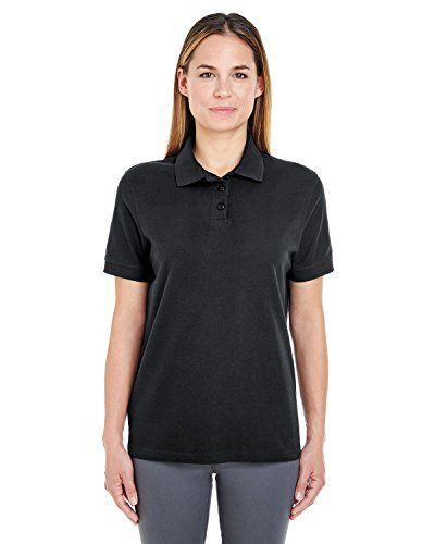 UltraClub Women's Lightweight Whisper Blend Pique Polo Shirt, XXX Large, Black