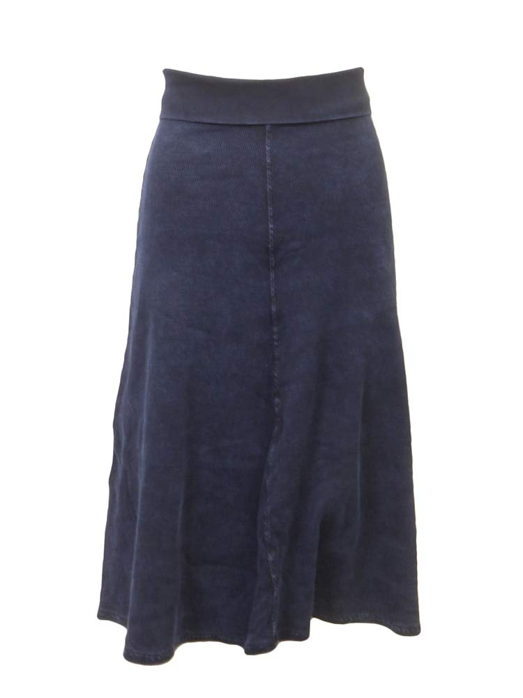 Junior Ribbed Rolldown Sweep Skirt Dark Denim M
