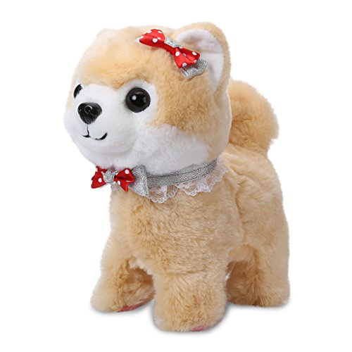 Shinehalo Walking and Barking Puppy Dog Pet Toy Electronic Plush Dog Toys Plush Interactive Toys with Talking Repeat with Remote Control Leash, Gift Toy for Kids Toddlers, Brown by Shinehalo