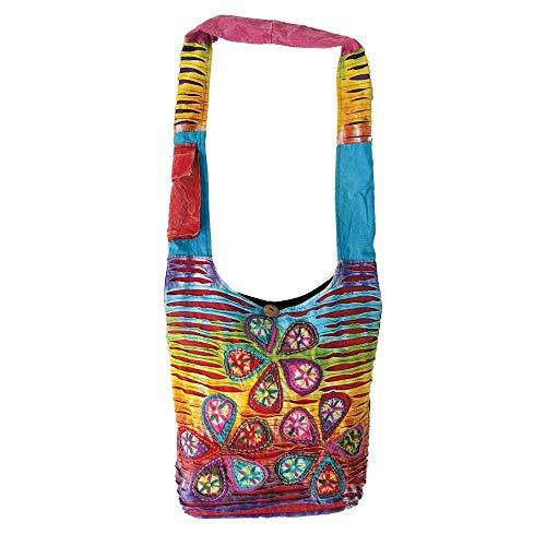 Rainbow Flower Patchwork Hippie Boho Bohemian Shoulder Hobo Bag Purse ()