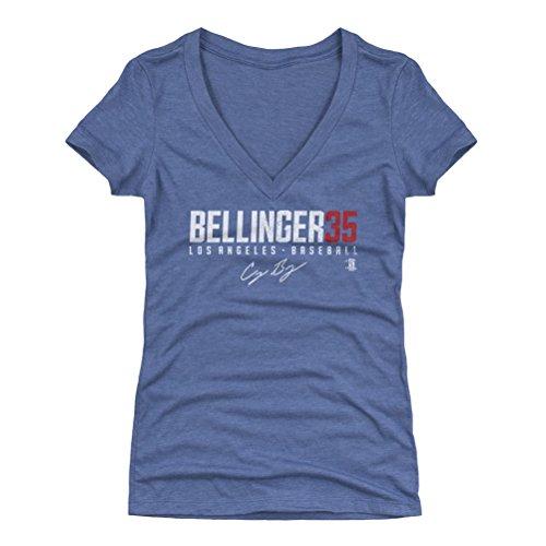 500 LEVEL Cody Bellinger Women's V-Neck Shirt Small Tri Royal - Los Angeles Baseball Women's Apparel - Cody Bellinger Bellinger35 W WHT