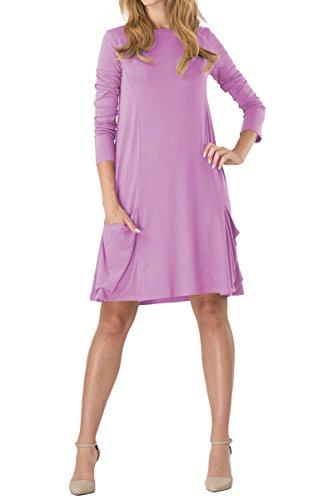 YMING Womens Swing Plain Dress Pockets Loose T-Shirt Dress Light purple XXL 7c9d026581