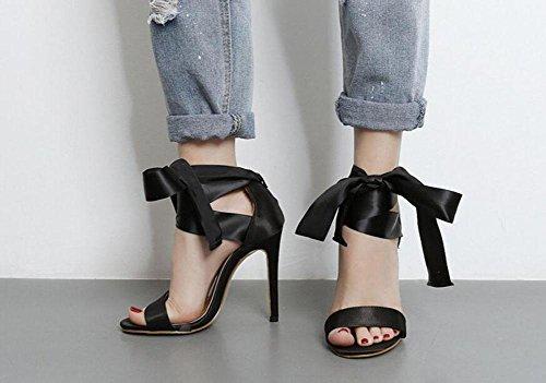 negro bombas tobillo Mary tacón bowknot black dedo sandalias Zapatillas de abiertos bombas Mujeres de zapatos de de GLTER cinta pie encaje del de alto Jane 64ngqx1
