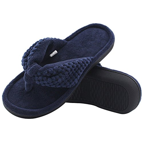 Women's Cozy Memory Foam Plush Gridding Velvet Lining Spa Thong Flip Flops Clog Style House Indoor Slippers (Large / 9-10 B(M) US, Navy Blue)