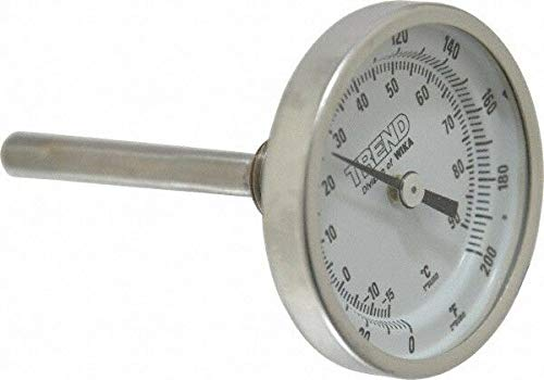 Wika 2-1/2 Inch Long Stem, 2 Inch Dial Diameter, Stainless Steel, Back Connec.