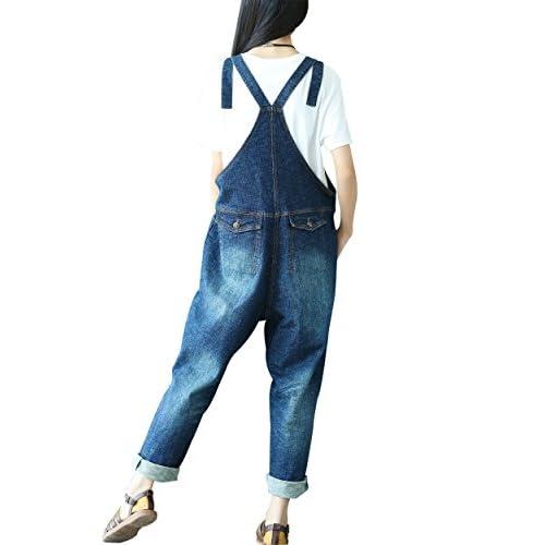 4a6298964f1 Yeokou Women s Loose Baggy Denim Wide Leg Jumpsuit Rompers Overalls Harem  Pants