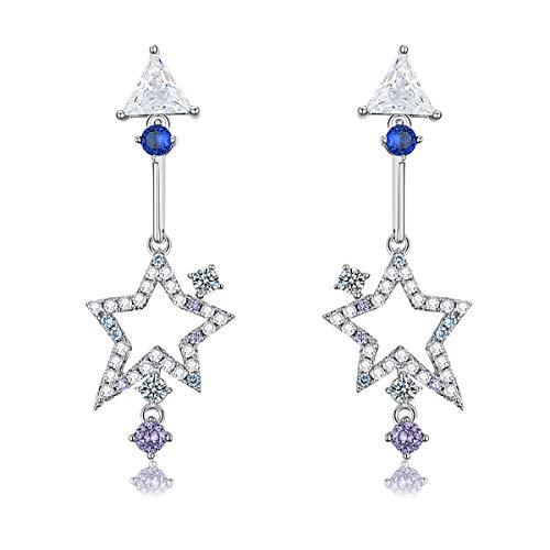 VANA JEWELRY Women Blue Threaded Earrings Sterling Silver Earrings Dangle Long Girls Earrings Hypoallergenic for Sensitive Ears CZ Diamond Dangling Drop Earrings (Interstellar earrings-gold)