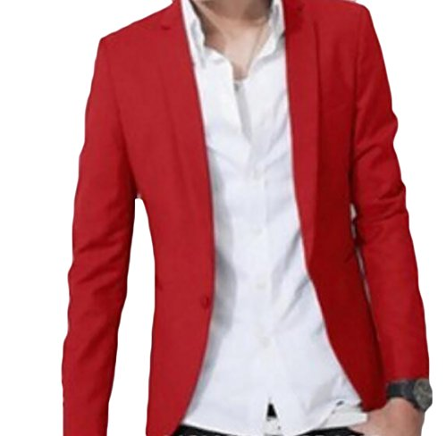 UUYUK Mens Classic Solid One Button Slim Fit Blazer Suit Jacket Sport Coat Red US M (Boys Red Blazer)