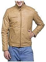 Zacharias Men's Pu Faux Leather Jacket(Zachmen-Leather-Jacket-Beige_Beige_Free Size)