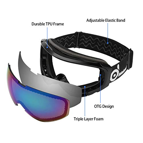 aca71d619cb Odoland Snow Ski Goggles S2 Double Lens Anti-Fog Windproof UV400 Eyewear  for Adult and