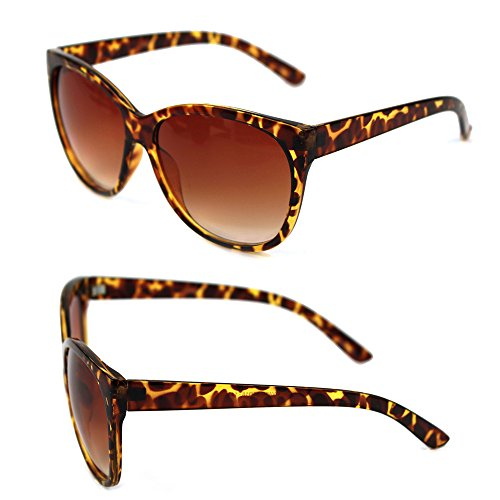 Pop Fashionwear Retro Oversized Cat Eye Poliarized Sunglasses P2431 (Tortoise, Brown)