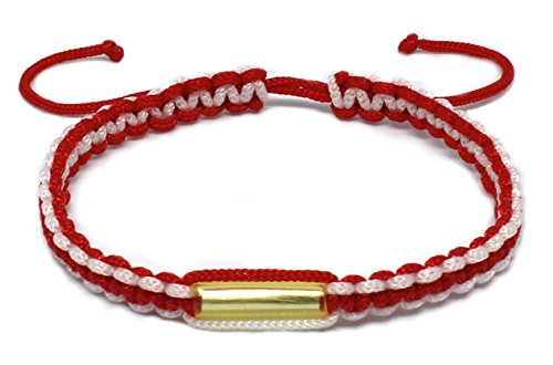 Origin Siam Handmade Thai Knot Wristband with Brass Amulet | Blessed Woven Macrame Bracelet | for Karma Good Luck Love Friendship Yoga Meditation Mindfulness (Red/White Mix) ()