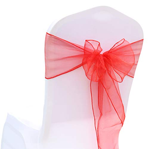 (BITFLY Organza Chair Sashes for Wedding/Party - Chair Cover Sashes/Bows Sash/Ribbon/Tie Decor, Suit for Banquet, Catering, Reception, Events Supplies Chair Decorations Accessories (Red, Pack of 50))