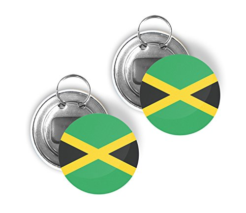 - Country of Jamaica Two Pack of Flag Beer Bottle Opener Keychain Buttons 2.25-inch Round Jamaican