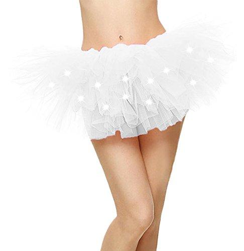 Comall Damen 5 Lagen LED Mini Tüll Tütü Rock Kostüm Party Tanz ...